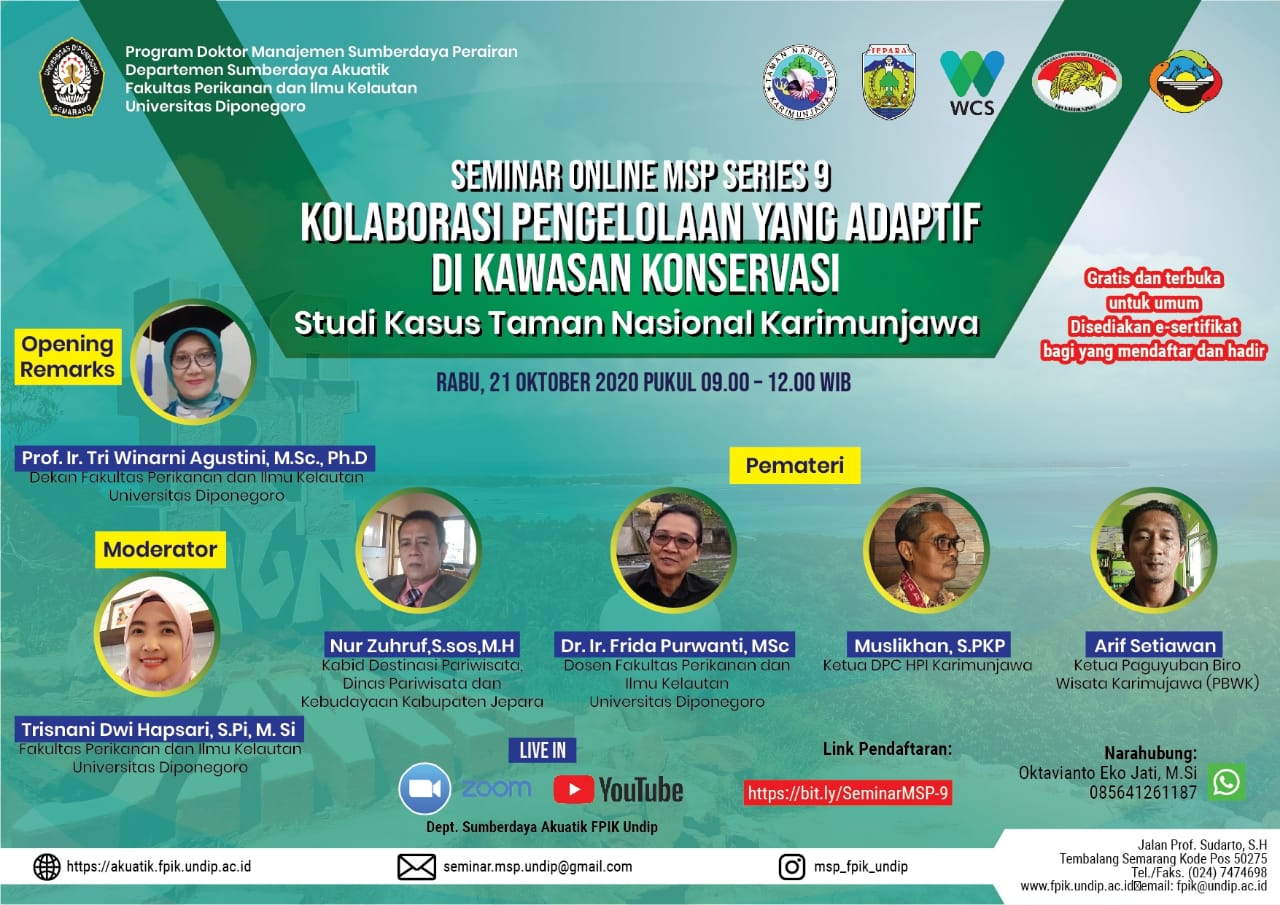 Online Seminar MSP Series 9: Adaptive Management Collaboration in Conservation Areas – A Case Study of Karimunjawa National Park
